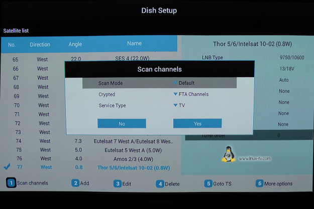WeTek Play Dish scan