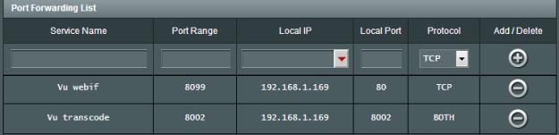 Port forward Vu+ Solo2 transcoding