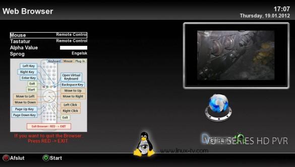 VU+ Ultimo web browser control